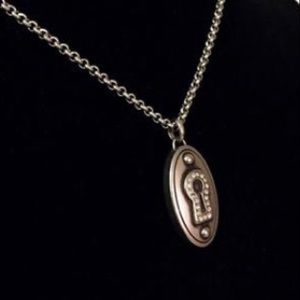 Fossil Keyhole Pave Crystal Stainless Necklace